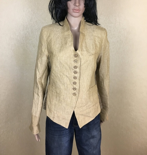 Beige Linen Jacket, Yellow Cropped Jacket, Linen B