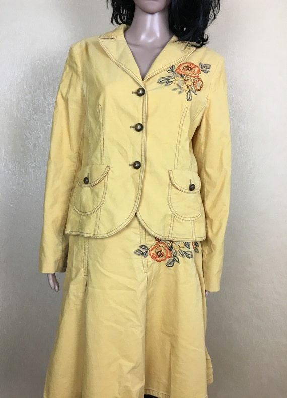 Women Corduroy Suit, 80s, Suit With Embroidery, Ye