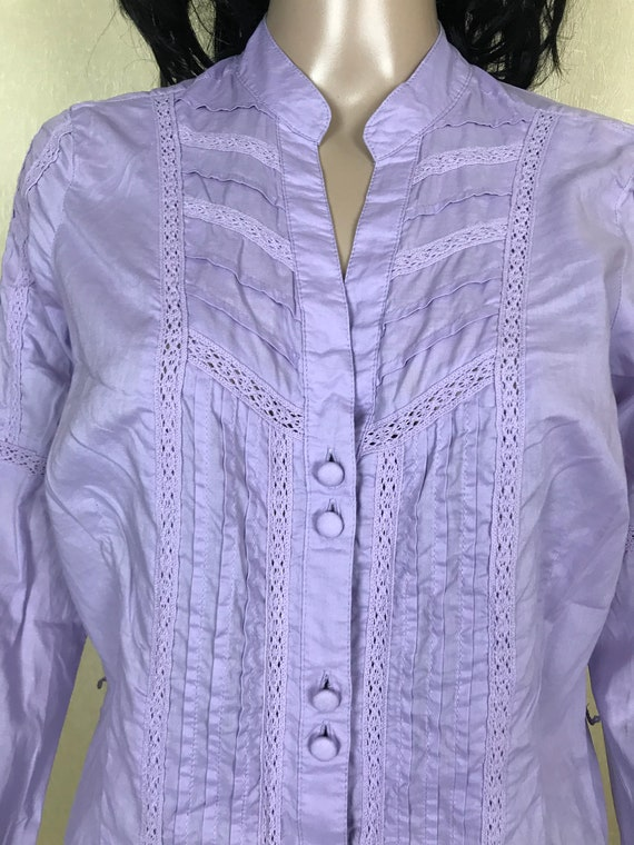 Women's Embroidered Ruffle Lilac Blouse by S'OLIV… - image 7