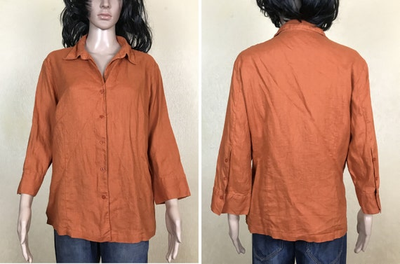 vintage 90s size XL collared blouse with 34 sleeves Marco Pecci linen blouse women/'s orange shirt