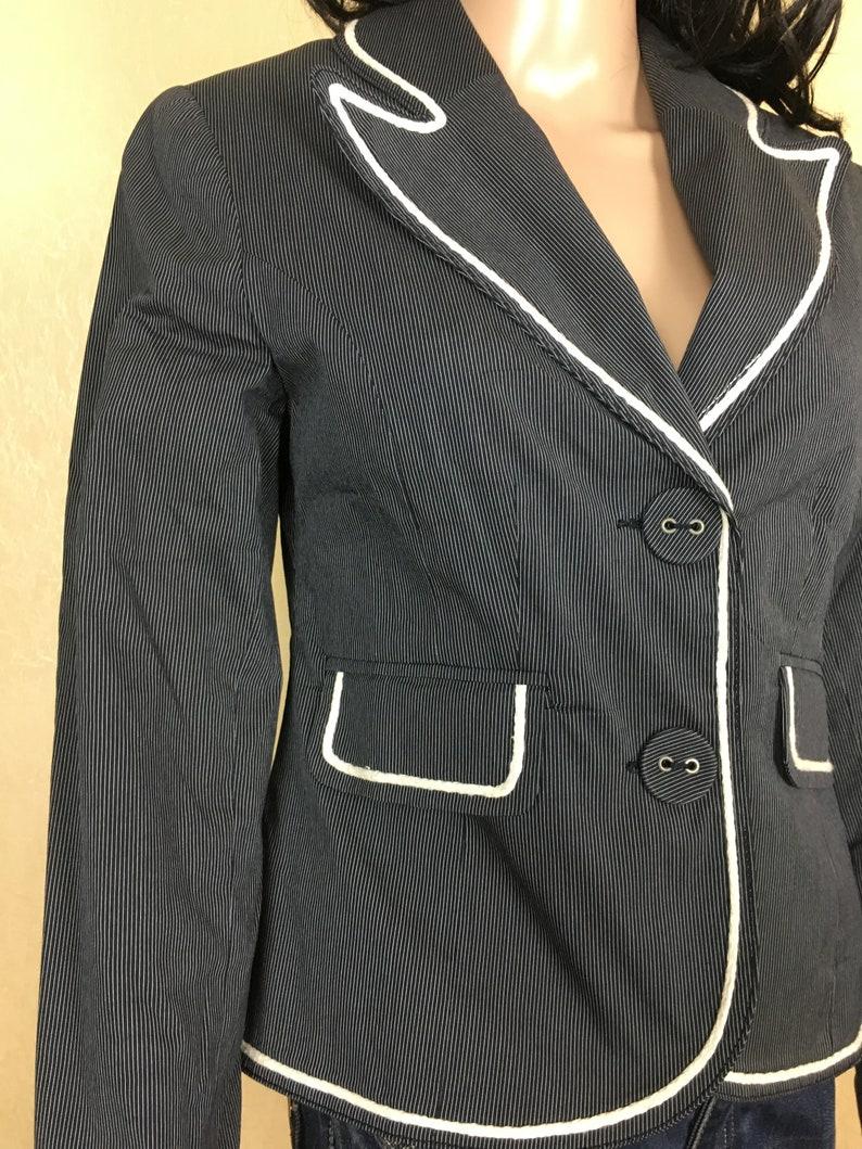 Vintage Stilish Blazer 90s Cropped Jacket Cotton Office Blazer Hipster Jacket Womens Striped Blazer Vintage Long Sleeve Striped Top Size M