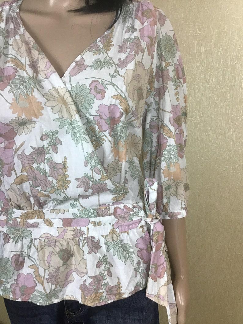 Floral Shirt Abstract Print Blouse Light Blouse Vintage Blouse 80s 90s Top Minimal Blouse Floral Blouse Short Sleeve Blouse Women/'s Size M