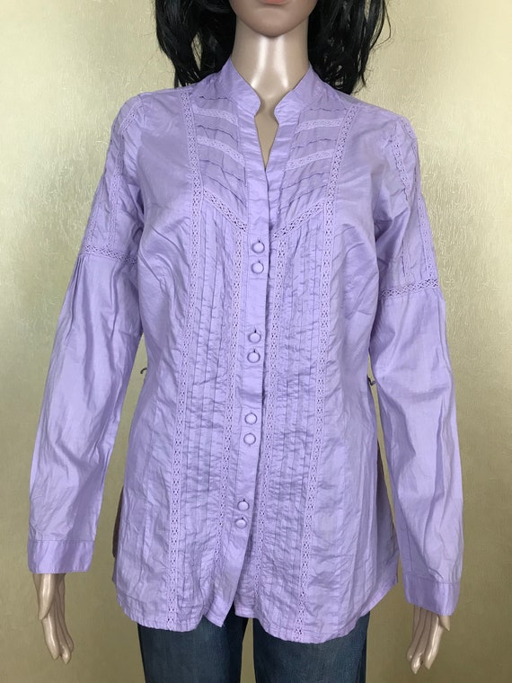 Women's Embroidered Ruffle Lilac Blouse by S'OLIV… - image 2