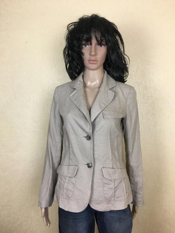 Linen Blazer Beige Linen Jacket Hipster Blazer 90s