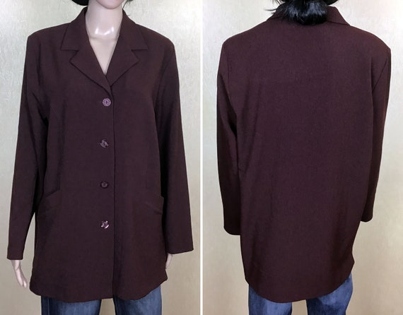 Plus Size Long Jacket with Pockets, Vintage 80s, S