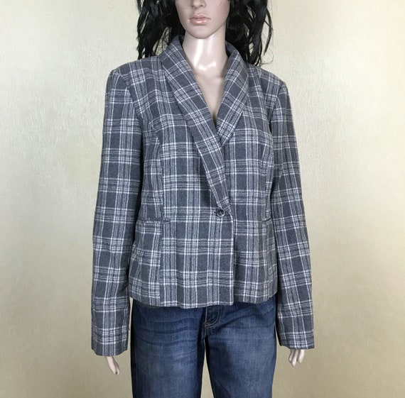 Women's Wool Plaid Blazer with Shawl Collar, Vinta