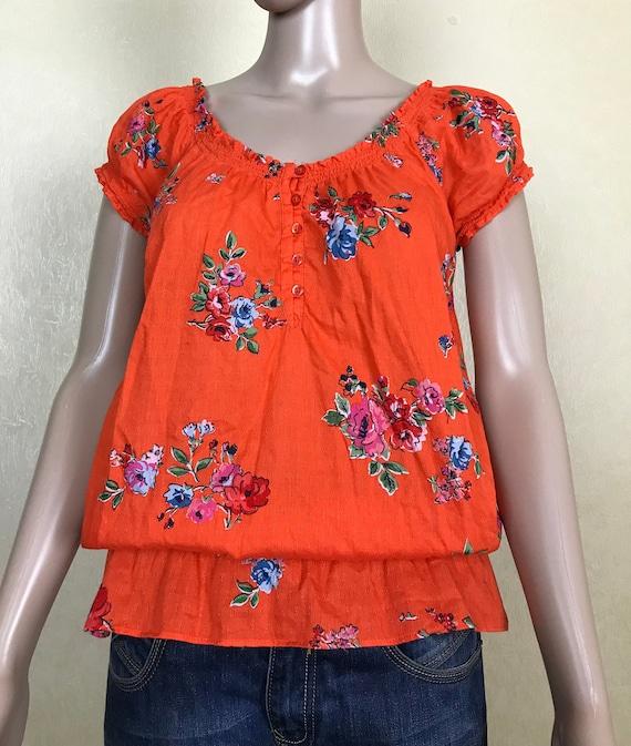80s Orange Blouse Womens Floral Shirt Orange Shirt