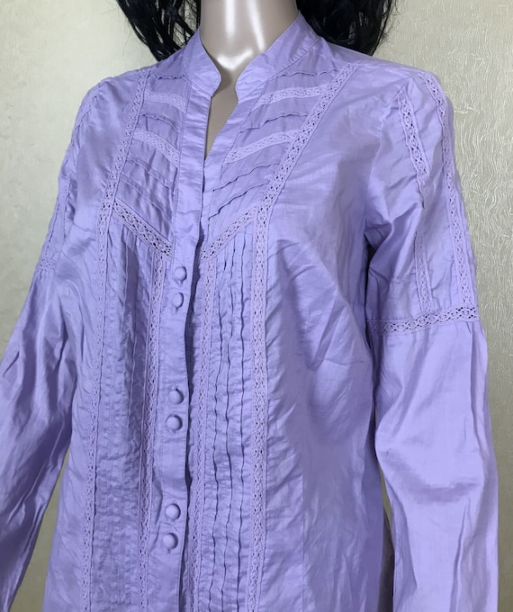 Women's Embroidered Ruffle Lilac Blouse by S'OLIV… - image 9
