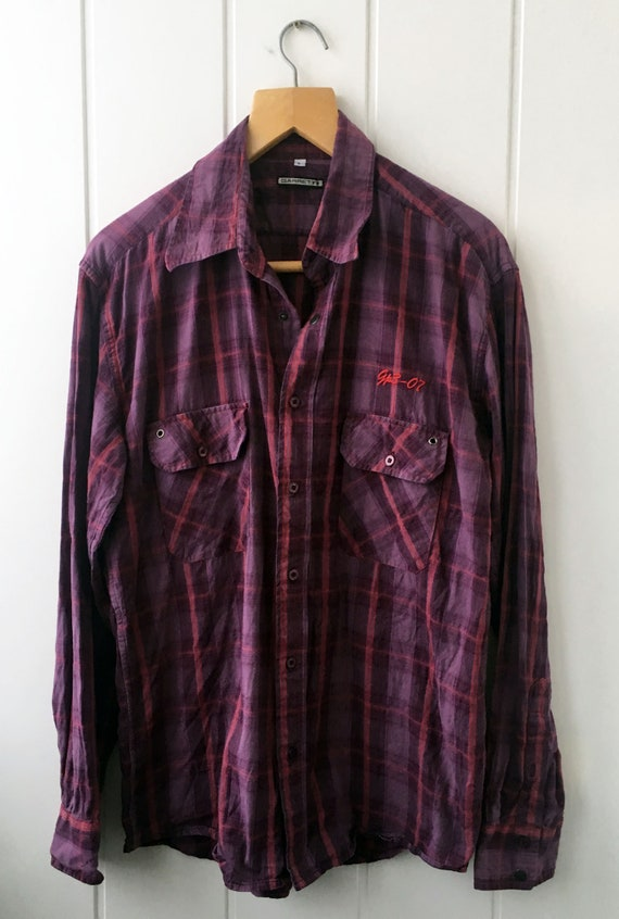 Checkered Shirt Plaid Western Shirt Vintage Men's… - image 2