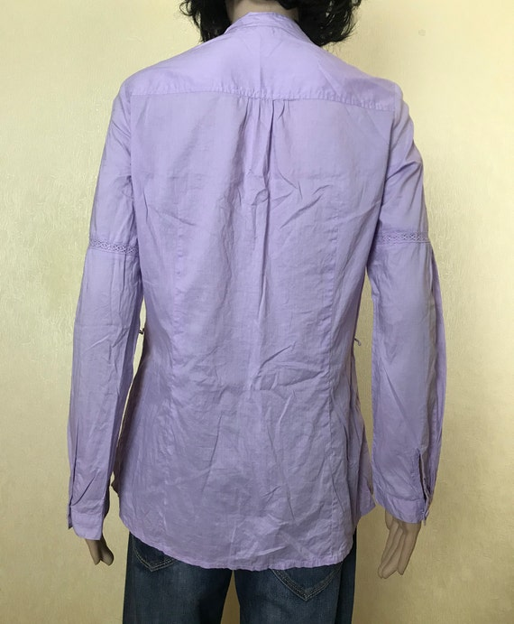 Women's Embroidered Ruffle Lilac Blouse by S'OLIV… - image 3
