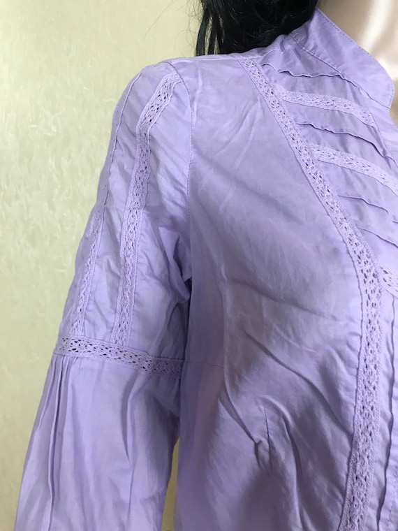 Women's Embroidered Ruffle Lilac Blouse by S'OLIV… - image 6