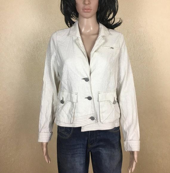 Vintage Cropped Linen Blazer, 90s, Size M