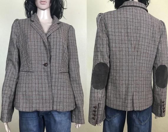Women's Wool Checkered Blazer, 90s Vintage, Size L