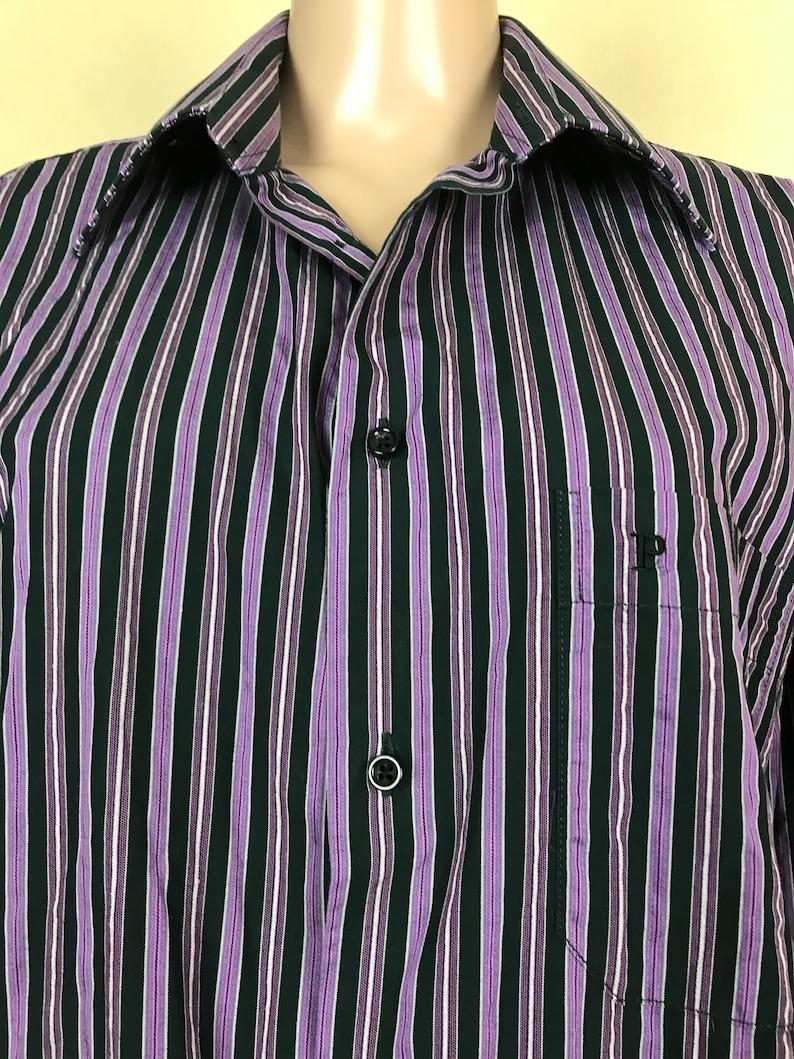 striped cotton shirt Size XXL. long sleeves shirt 90s Men/'s shirt by PETRIFUN vintage casual top