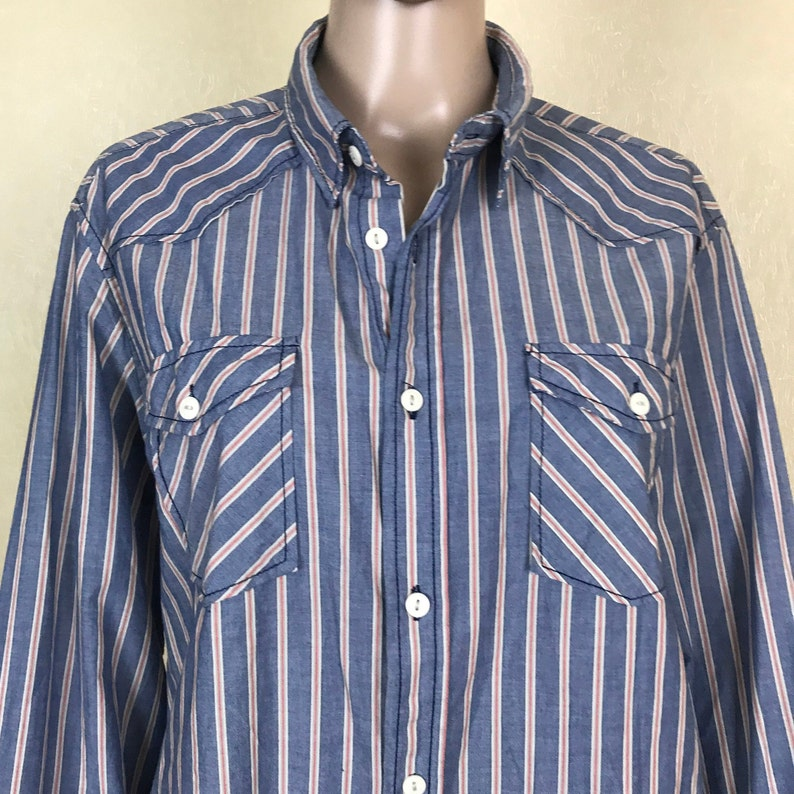 Men/'s Striped Shirt with Long Sleeves Casual Cotton Shirt 90s Vintage Size L