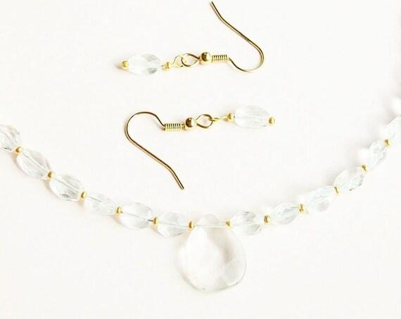 Quartz Necklace and Earrings Set