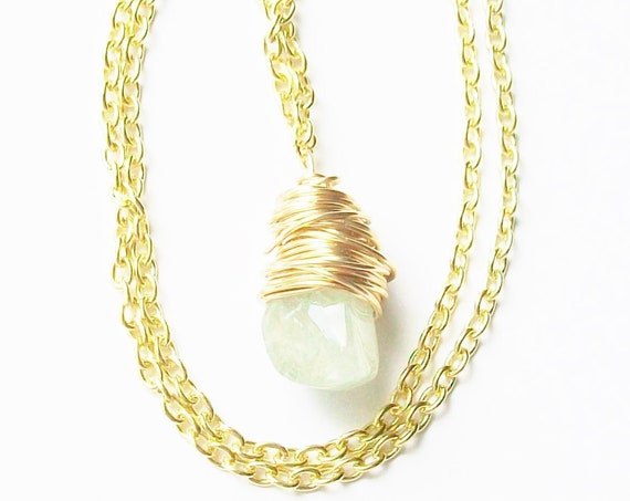 Aquamarine Stone Wrapped in Gold Wire Pendant Necklace