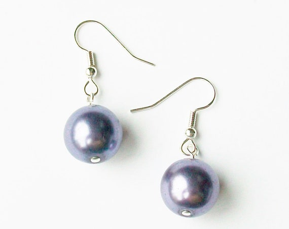 Light Purple Pearl Plastic Earrings