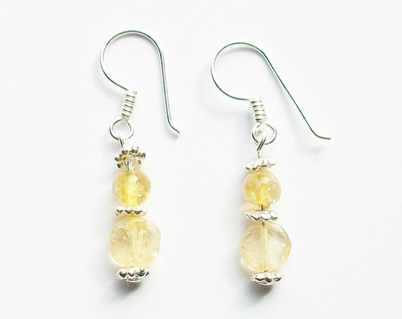 Yellow Citrine and Sterling Silver Earrings