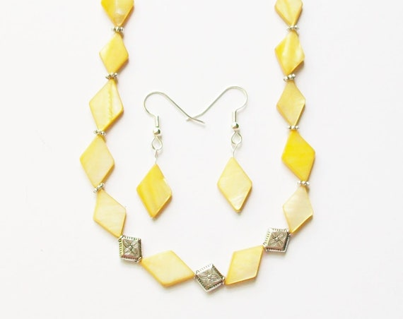 Yellow Shell Necklace and Earrings Set