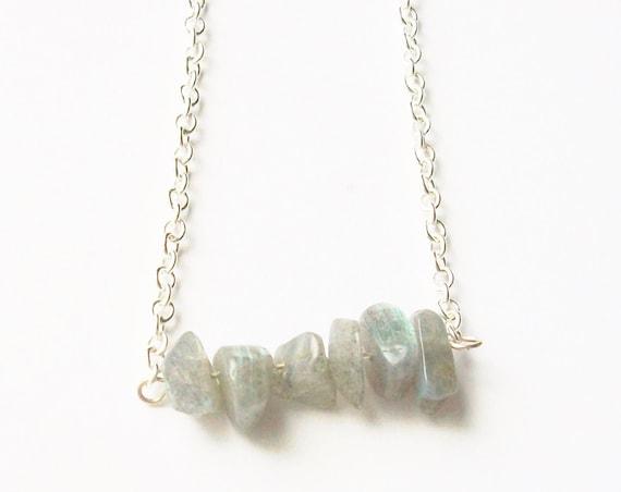 Labradorite Stones & Silver Necklace