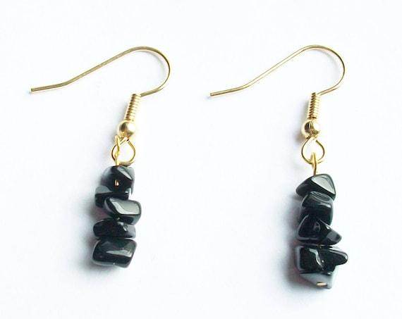 Black Onyx Chip Stones & Gold Earrings