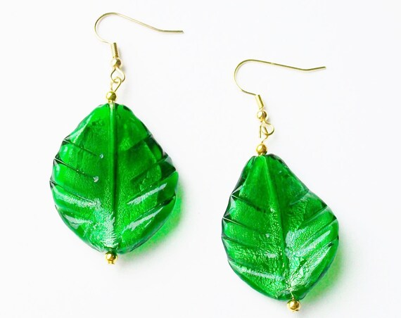 Forest Green Leaf with Gold Earrings