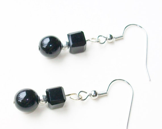 Chic Black & Silver Earrings