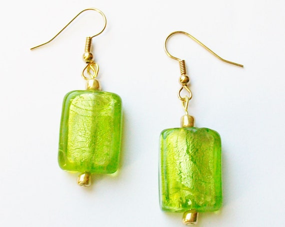 Lime Green Glass Earrings