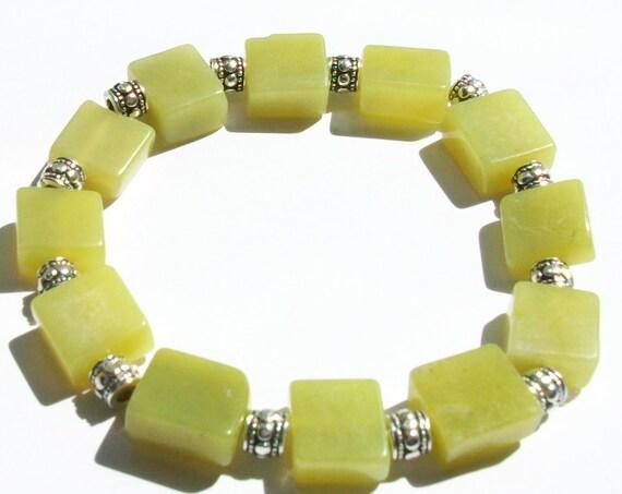 Square Green Serpentine Stretch Bracelet