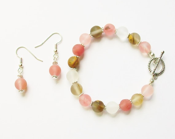 Watermelon Tourmaline Bracelet and Earrings Set