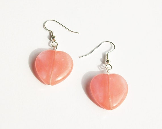 Pink Quartz Heart Earrings