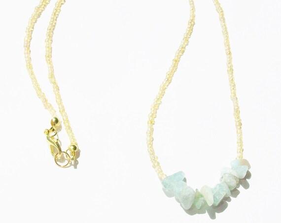Raw Aquamarine Stones & Gold Necklace