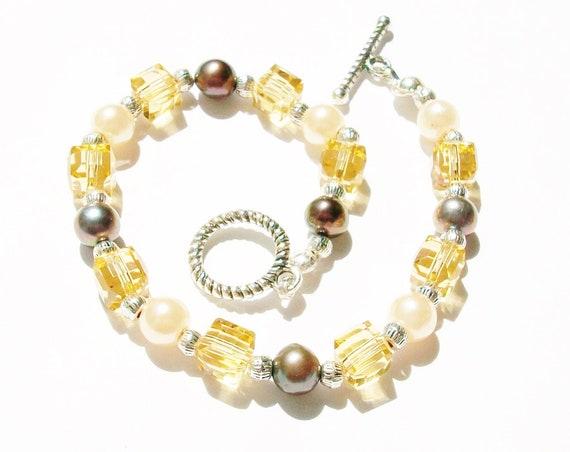 Fresh Water Pearl & Champagne Bracelet