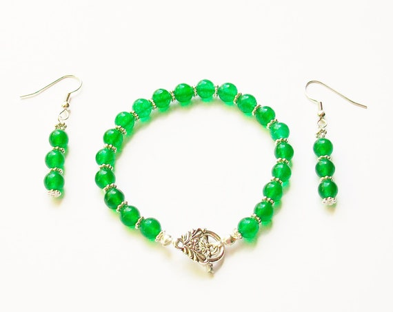 Green Chalcedony Bracelet and Earrings Set