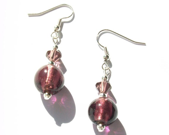 Purple & Silver Earrings