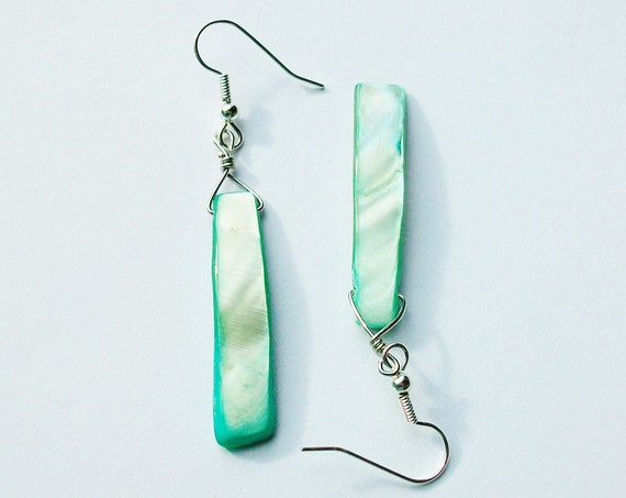 Seafoam Green Shell Earrings
