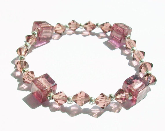 Purple Glass Stretch Bracelet