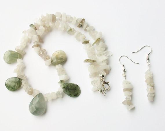 Moss Agate and Gray Quartz Jewelry Set