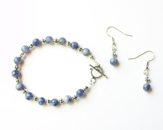 Sodalite Bracelet and Earrings Set