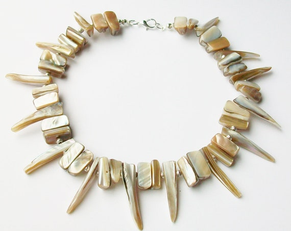 Champagne Shell Spiked Choker Necklace