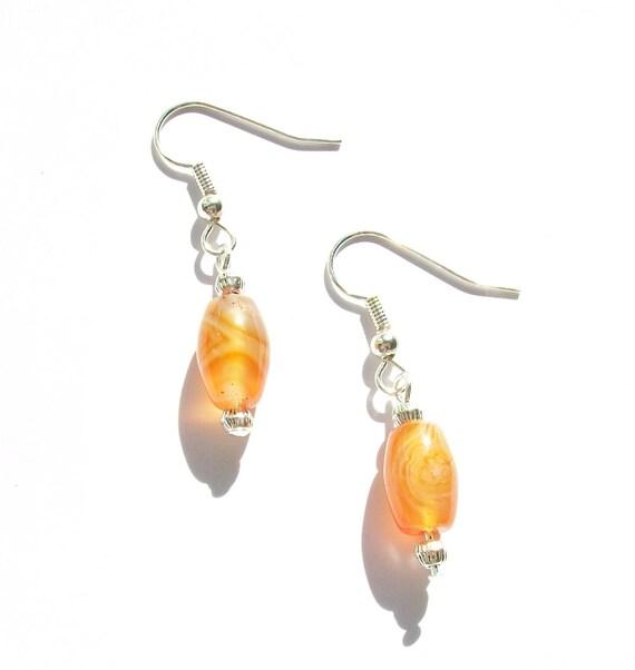 Orange Banded Agate Earrings