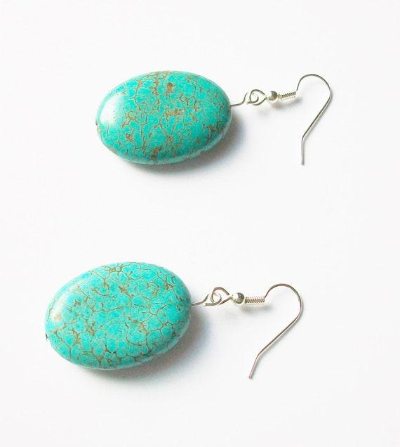 Turquoise Oval Stone Earrings