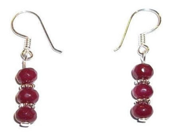 Ruby Earrings - Genuine Ruby - Ruby Gemstones - Sterling Silver - Silver Earrings - Womens Earrings - Gift for Her - Mother's Day Gift