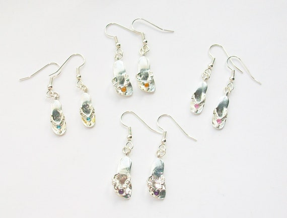 Rhinestone Flip Flop Earrings