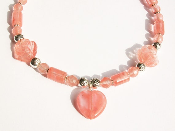 Pink Quartz Heart & Rose Necklace with Earrings Set