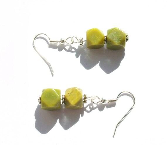 Green Serpentine Stone Earrings