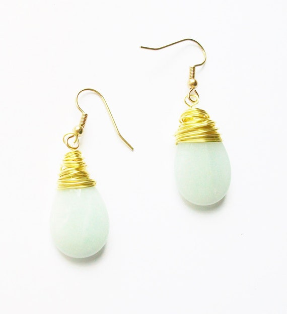 Amazonite & Gold Wire Wrapped Earrings
