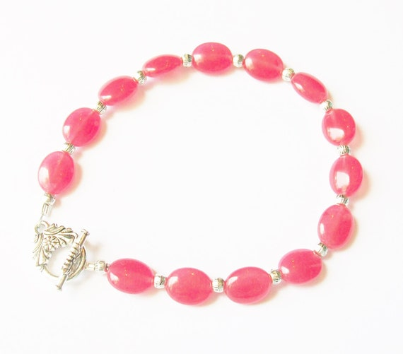 Red Quartz Stones & Silver Bracelet