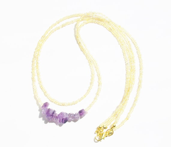 Amethyst Chip Stones & Gold Necklace - February Birthstone